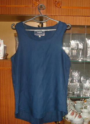 12/40 р. фирменная блузка с коротким рукавом 100% лен  collection