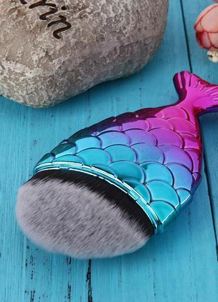 Красивейшая кисть рыбка/русалка для тонального крема/бронзера - 11 см полный размер!