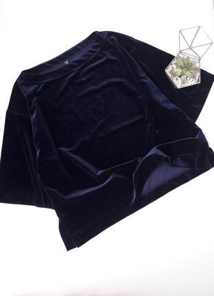 Синий велюровый бархатный топ кофьа майка с роспорками