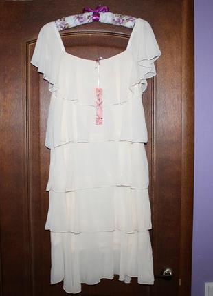 Воздушное платье на бретелях с ярусами воланов sweewe разм m/l