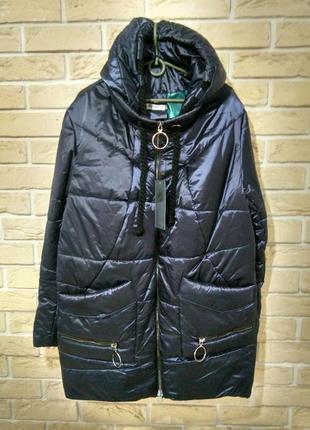 Р.54 легкая демисезонная куртка капюшон синяя стиль модно2018 батал
