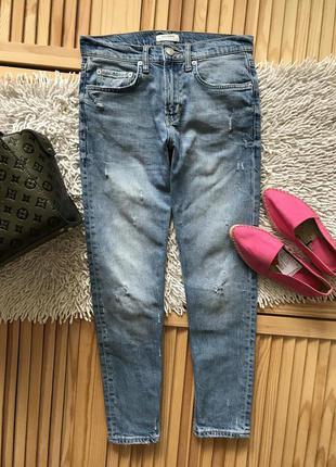 Шикарные голубые джинсы с царапками zara premium
