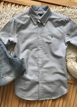 Голубая рубашка с коротким рукавом ralph lauren