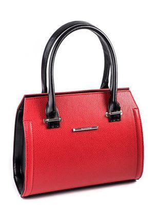 Красная небольшая ручная сумка саквояж с черными вставками