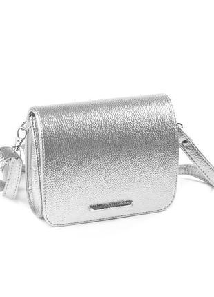Маленькая серебристая сумка через плечо кроссбоди мини