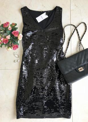 Платье mango. чёрное платье. в пайетки.