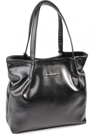 Черная глянцевая сумка шоппер с длинными ручками мягкая сумка-мешок на плечо