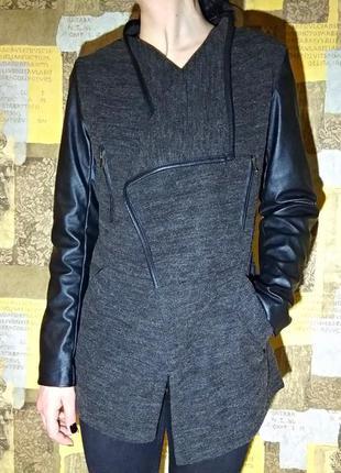 🌸скидки к 8марта🌸лёгкое весенние асимметричное пальто - косуха. с кожаными рукавами