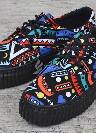 4238a78459dc Кеды женские на платформе africa на шнуровке с рисунком криперы ...