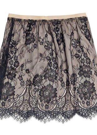 Пудровая кружевная юбка zara