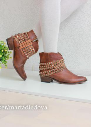 Кожаные ботинки полусапожки, натуральная кожа, бренд  steve madden
