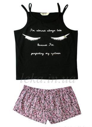 Пижама черно-розовая l primark love to lounge