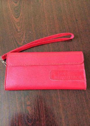 Червоний шкіряний гаманець