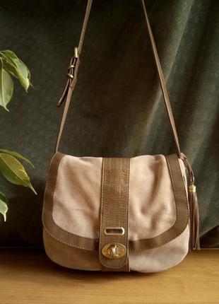 Наплечная замшевая кожаная сумка oasis