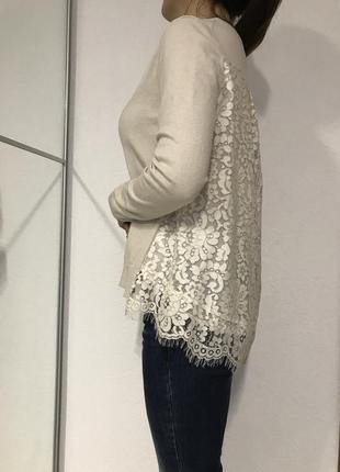 Красивая брендовая кофточка, свитер, кардиган, блуза с кружевом на спине