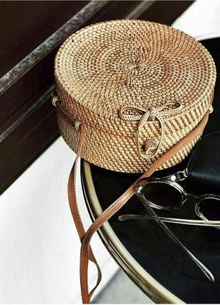 Модная круглая сумка из ротанга,  бали