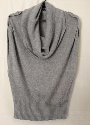 Ангоровая кофточка,джемпер, свитер без рукавов с объемным воротником pimkie