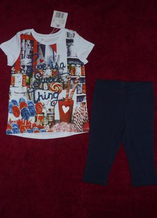 Костюм футболка и лосины chicco, р.104,116,128 - 4, 6, 8 лет. новый для девочки