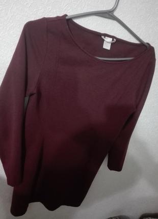 Бордовое плаття от h&m