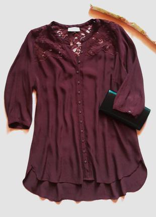 """Роскошная  блуза с удлиненной спинкой """"бордо"""". 100%вискоза"""