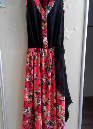 Платье в пол шифоновое длинное макси цветочный принт летнее