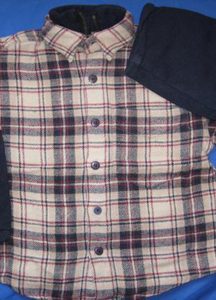 Теплая рубашка-толстовка на змейке ф.h&m h-110/116 в прекрасном состоянии