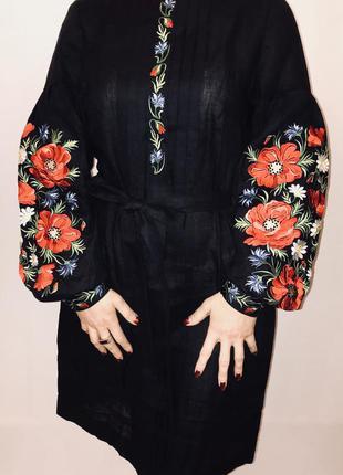 Красивое черное платье с вышивкой вышиванка вишиванка размер л, хл
