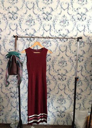 Платье миди лапша бордовое