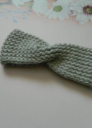 Вязаная повязка на голову серого цвета ручная работа тёплая повязка