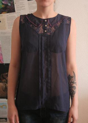 Темно-синяя блуза с коротким рукавом atmosphere