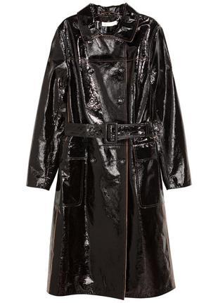 Двубортное кожаное пальто от h&m premium quality