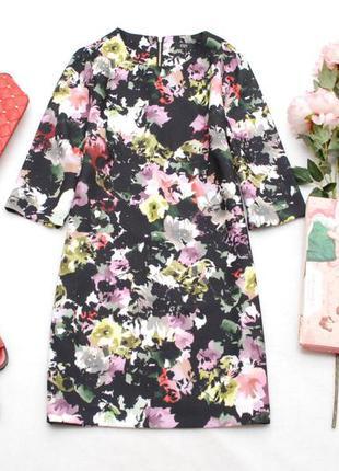 Платье с рукавом 3/4 в цветочный принт полуприталенный силуэт f&f 12uk
