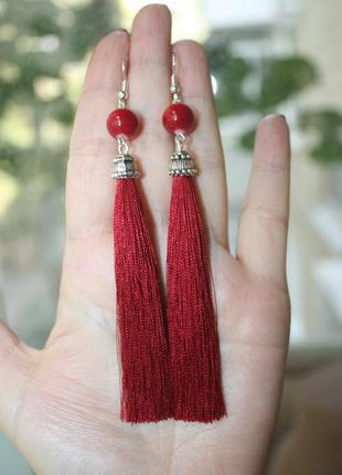 Серьги серёжки кисти кисточки красные вишнёвые нити длинные модные