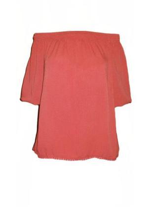 Блуза с открытыми плечами на резинке new look свободная реглан вискоза размер 10 наш 44