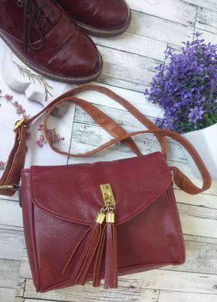 Сумка с длинной ручкой. бордовая сумка. сумка кросс-боди.