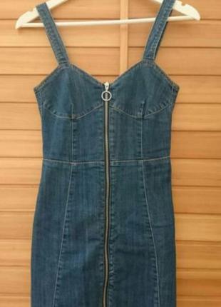 Стильное джинсовое  платье сарафан h&m