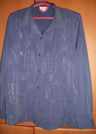 Блузка с вышивкой, оверсайз, сизый цвет