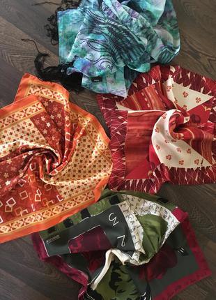Шелковый платок шарф шейный платок комплект 4шт