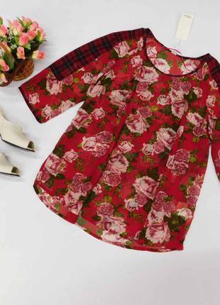 Яркая шифоновая свободная блузка s.oliver размер 42 евро.