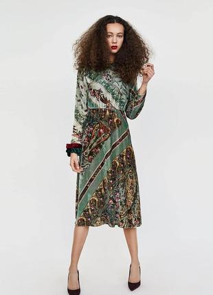 Бархатное платье миди от zara