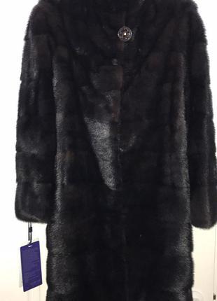 Шубы норковые поперечки с воротничком стоечка kopengagin furs
