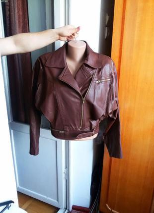 Укороченная кожаная куртка косуха 100% натуральная кожа винтаж