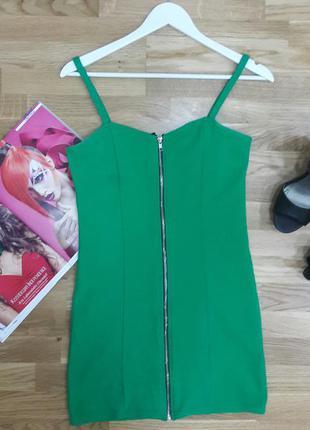 Зеленое платье на молнии