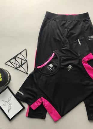 Чёрный с розовым спортивный костюм лосины + футболка в спотр зал karrimor