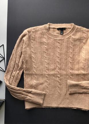 Тёплый бедевый вьязаный свитер в косы mango ангора шерсть