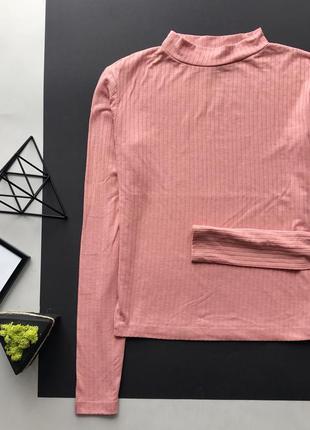 Шикарный нюдовый розовый гольф в рубчик / свитер в рубчик