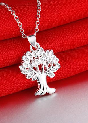 Серебряный кулон подвеска счастливое дерево цепочка в подарок серебро 925поробы