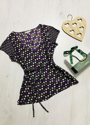 Шёлкова лёгкая блуза в горошек, яркая и красивая, m-l