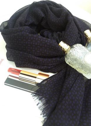 Полушерстяной  шарф  фиолетовый с черточками  other  stories
