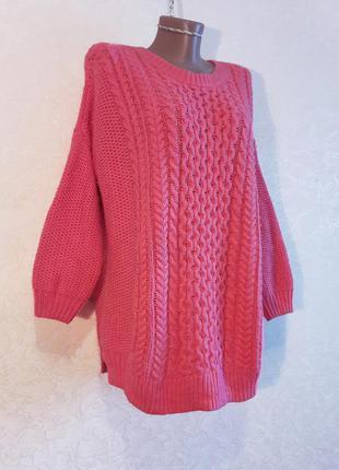 Ярко розовый теплый свитер с молнией по спинке